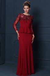 Sheath Maxi Long-Sleeve Beaded Scoop-Neck Jersey Mother Of The Bride Dress With Peplum