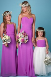 Sweetheart Criss-Cross Sleeveless Chiffon Bridesmaid Dress