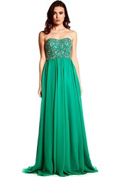 Beaded Strapless Chiffon Prom Dress With Lace-Up