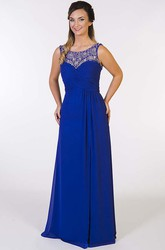 Scoop Neck Sleeveless Criss-Cross Chiffon Prom Dress With Beading
