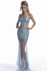 Mermaid Tulle One-Shoulder Prom Dress Featuring Bling Sequins