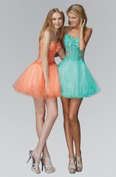 A-Line Short Spaghetti Tulle Lace Illusion Dress