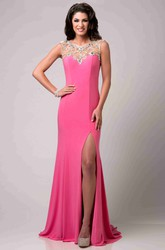 Cap Sleeve Satin Chiffon Prom Dress Featuring Crystal Detailed Top