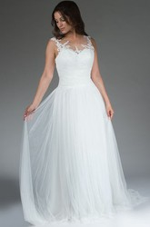 Illusion Neck Embroidered Top A-Line Bridal Gown With Tulle Skirt