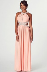 Scoop Neck Sleeveless Ruched Chiffon Prom Dress With Beading And Backless