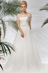 A-Line Off-The-Shoulder Short-Sleeve Floor-Length Tulle&Lace Wedding Dress