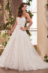 Sweetheart A-Line Gown With Appliques And Sequined Waistline