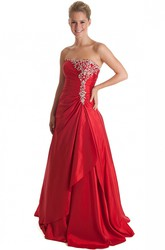 A-Line Sleeveless Beaded Strapless Floor-Length Satin Prom Dress With Draping