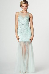 Sleeveless Beaded Scoop Neck Tulle Prom Dress With Pleats And Straps
