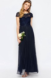 A-Line Appliqued Bateau-Neck Floor-Length Short-Sleeve Chiffon Bridesmaid Dress With Pleats