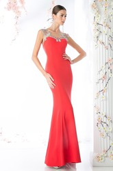 Pencil Floor-Length Bateau Sleeveless Jersey Illusion Dress With Beading