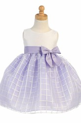 Tea-Length Bowed Sleeveless Organza Flower Girl Dress