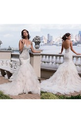 Trumpet Short Sweetheart Sleeveless Bell Beading Appliques Chapel Train Backless Tulle Lace Dress