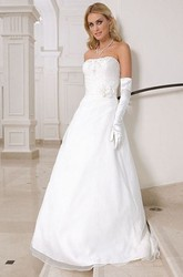 A-Line Floral Sleeveless Floor-Length Strapless Satin Wedding Dress With Ruching And Appliques