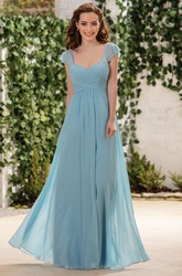 Cap-Sleeved A-Line Bridesmaid Dress With Crisscross Ruching And Square Back