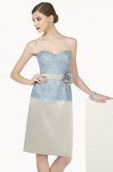 Lace Top Knee Length Satin Prom Dress With Floral Sash And Removable Jacket