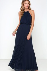 Chiffon Long Charming Sleeveless Dress With Pleats