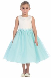 Floral Tea-Length Floral Tulle&Sequins Flower Girl Dress With Ribbon