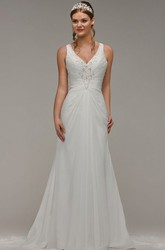Sheath Beaded Floor-Length V-Neck Sleeveless Chiffon Wedding Dress With Ruching And Keyhole