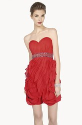 Sweetheart Sheath Mini Prom Dress With Crystal Sash And Ruffles