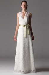 Sheath V-Neck Long-Sleeveless Lace Wedding Dress With Bow And V Back