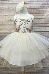 Spaghetti Midi Beaded Tiered Tulle&Sequins Flower Girl Dress