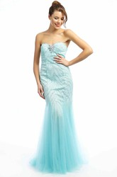 Mermaid Sweetheart Sleeveless Maxi Beaded Tulle Prom Dress