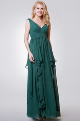 V-neck Sleeveless A-line Long Chiffon Bridesmaid Dress With Tiers