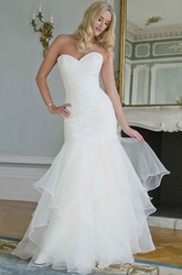 Mermaid Tiered Sweetheart Lace&Organza Wedding Dress With Draping