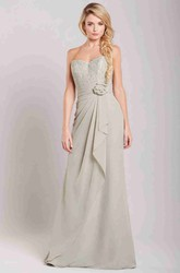 Sheath Sleeveless Lace Long Sweetheart Chiffon Bridesmaid Dress With Flower And Draping