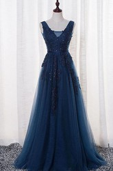 Sleeveless V-neck Long Beaded Tulle Dress