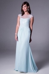Long Bateau-Neck Cap-Sleeve Ruched Chiffon Bridesmaid Dress With Appliques And Illusion