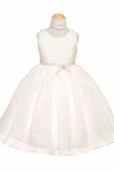 Tea-Length Beaded Cap-Sleeve Organza&Satin Flower Girl Dress With Cape