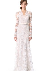 1920's Vintage Inspired Illusion Long Sleeve Lace Column Wedding Dress