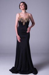 Scoop Long Beaded Chiffon Prom Dress With Sweep Train And Illusion