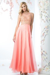 A-Line Ankle-Length Jewel-Neck Satin Illusion Dress With Beading And Pleats