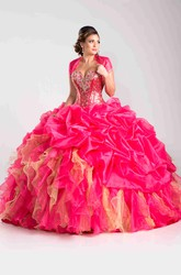 Sequined Corset Ball Gown With Pick-Ups And Cape