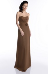 Long A-Line Chiffon Strapless Bridesmaid Dress With Floral Detailing