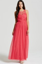 Ankle-Length Bateau Neck Sleeveless Beaded Tulle Bridesmaid Dress