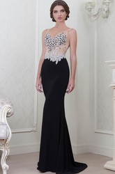 Sheath Crystal Sleeveless V-Neck Long Jersey Evening Dress