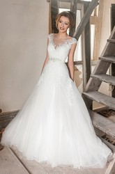 Maxi Bateau Appliqued Cap-Sleeve Tulle&Lace Wedding Dress