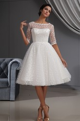 A-Line Half-Sleeve Knee-Length Wedding Dress With Dot And Lace