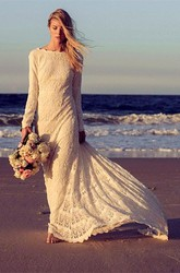 Newest Long Sleeve Lace Wedding Dress Court Train
