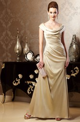 Cap-Sleeved Long Gown With Draping And Appliques