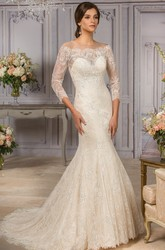 3-4 Sleeved Mermaid Wedding Gown With Appliques And Illusion Back