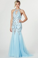 Mermaid Sleeveless High Neck Crystal Tulle Prom Dress With Illusion Back