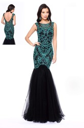 Mermaid Scoop-Neck Sleeveless Tulle Low-V Back Dress With Beading