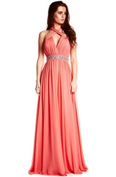 Halter Sleeveless Ruched Chiffon Prom Dress With Beading And Straps