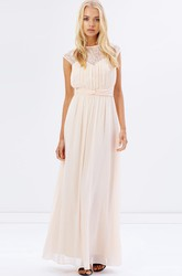 Cap Sleeve Jewel Neck Ruched Chiffon Bridesmaid Dress