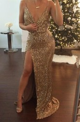 Sexy Sequined V-neck 2018 Prom Dress Front Split
